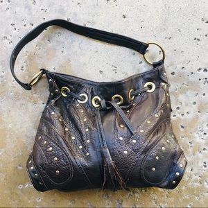 Bulga leather butterfly hobo shoulder bag brown